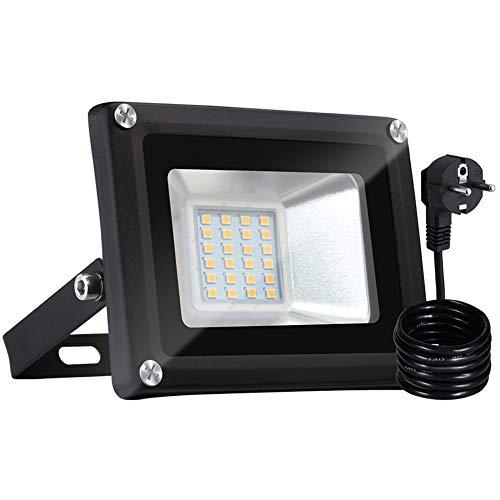 Bellanny 20W LED Strahler Außen, 1600LM LED Fluter, 3000K Warmweiß Superhell LED Floodlight, IP65 Wasserdicht Scheinwerfer, für Garten, Garage, Sportplatz, Hotel ect