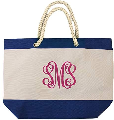 Personalized Beach Tote Bag with Zipper Pockets Monogram Bridesmaid Wedding Party Custom Monogrammed product image