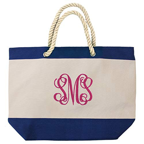 Personalized Beach Tote Bag with Zipper, Pockets, Monogram - Bridesmaid Wedding Party - Custom Monogrammed (Royal Blue)