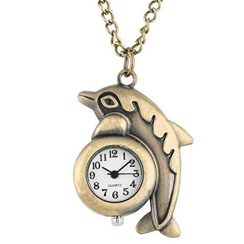 HANXIAO Taschenuhren Cute Fashion Delphin Design Halskette Retro Bronze analog Quarz taschenuhr Kette anhänger Uhr Stunden für Kinder blau