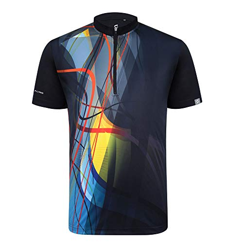 SAVALINO Men's Bowling Sublimation Printed Jersey Material Wicks Sweat & Dries Fast, New Finishing Technologies to Combat Smell with Material Wicks Sweats & Dries Fast XL Black