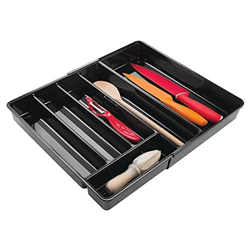mDesign Cubertero antideslizante expandible con 6 divisiones – Organizador de cubiertos extensible para ordenar utensilios – Bandeja para cubiertos y para organizar cajones de cocina – Color: