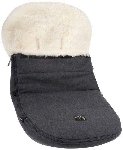 Kaiser kinderwagenvoetenzak voor alle modellen van het merk Bugaboo en Joolz, lamsvel natuurlijk wit jeans
