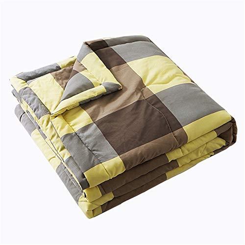 Colcha acolchada, reversible, colcha de decoración de celosía, ultra suave, acolchada (rejilla gris, 200 x 230 cm)