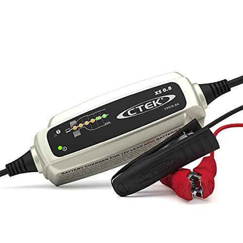 CTEK XS 0.8, Cargador Batería 12V 0.8A, Cargador Inteligente Baterias, Cargador Batería Moto, Quad, Moto De Nieve, JetSki, Moto De Agua Y Cortacésped, Mantenedor De Batería Y Desulfatador De Batería