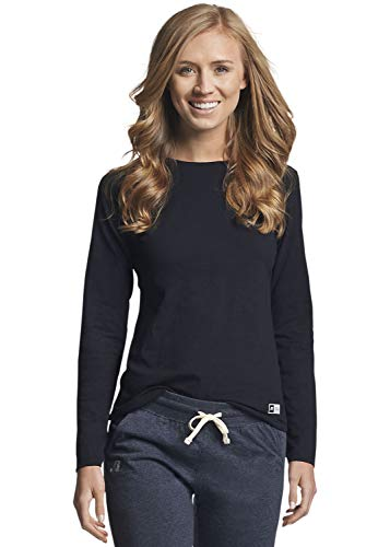 Russell Athletic womens Cotton Performance T-shirts T Shirt, Long - Black, X-Large US