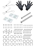 ORAZIO 84PCS Professional Piercing Kit Stainless Steel 14G 16G Belly Tongue Tragus Nipple