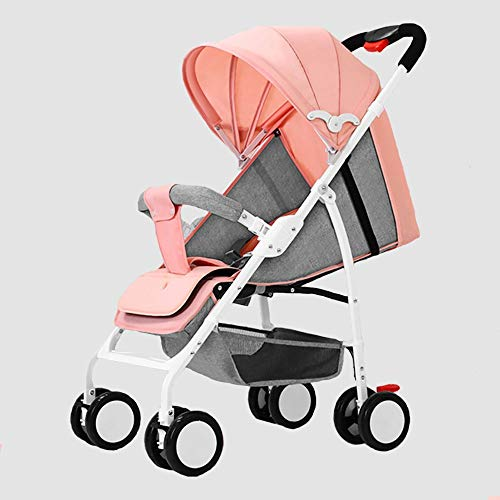 Cochecitos para bebés, vagones de la estación portátil Ultraligero, los cochecitos recién Nacidos de absorción y fácilmente Plegables (adecuados para bebés Menores de 3 años) (Color : Pink)