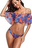 Memory baby Donna Sexy Vita Alta Balze Capestro Bikini Set Due Pezzi Costumi da Bagno(Blu/Arancione,XL/EU42-44)