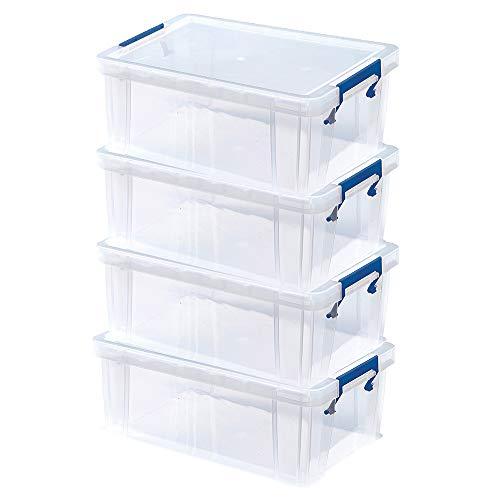 4 Bankers Box ProStore Plastic Storage Boxes With Lids, 10 Litre (15.5 x 39.5 x 25.5 cm)