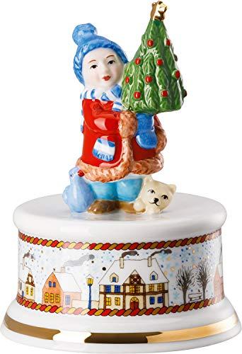 Hutschenreuther klein Weihnachtsmarkt Ø 9 cm/Höhe 13 cm-Melodie: Leise rieselt der Schnee Spieluhr, Porzellan, Bunt