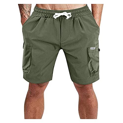 KIMODO Jogginghose Sweatpants Kurze Hosen Freizeithose Herren Einfarbig Lose Plus Size Casual Shorts Jogginghose Laufshorts Trainingshose Tennishose (A-Grün, XXL)