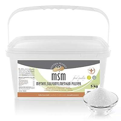 MSM Methylsulfonylmethan Pulver 5 kg| Reinheitsgrad 99,92% | organische Schwefelverbindung| Lebensmittelqualität |ohne Rieselhilfen | Golden Peanut