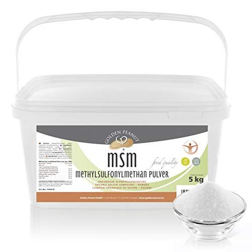 MSM Methylsulfonylmethan Pulver 5 kg | Reinheitsgrad 99,92% | organische Schwefelverbindung | Lebensmittelqualität | ohne Rieselhilfen | Golden Peanut