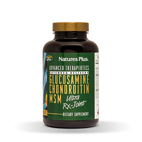 NaturesPlus Advanced Therapeutics Glucosamine/Chondroitin/MSM Ultra Rx Joint Tablets, Extended Delivery - 180 Tablets - High Potency Joint Support Supplement - Gluten-Free - 60 Servings
