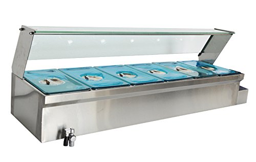 Techtongda 47'' 6-Pot Bain-Marie Food Warmer Bath Warmer Steam Table Hot Well