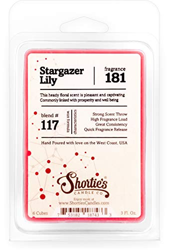 Shortie's Candle Company Stargazer Lily Wax Melts - Formula 117-1 Highly Scented 3 Oz. Bar - Made with Natural Oils - Flower & Floral Air Freshener Cubes Collection