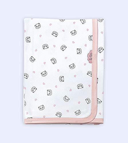 Ti TIN - Arrullo para Bebé de Doble Capa de Punto Suave y Absorbente 100% Algodón con Doble Tejido Interlock, Estampado de Oso Panda Color Rosa