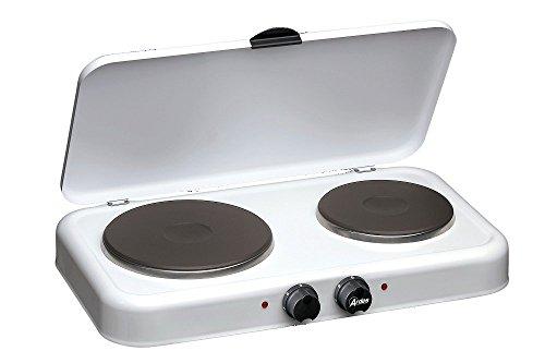 Ardes AR016BT Ornilla Fornello Elettrico Cucinetta 2 Piastre con Coperchio in Acciaio Smaltato 2500 W, Bianco