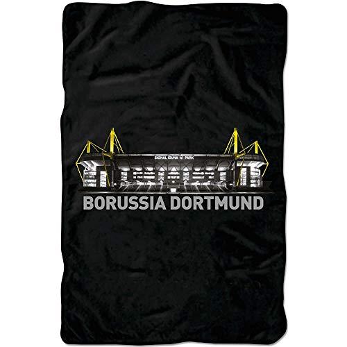 Borussia Dortmund BVB Spannbettlaken Stadion, Baumwolle, Schwarz/Gelb/Weiß, 200 x 100 x 1 cm