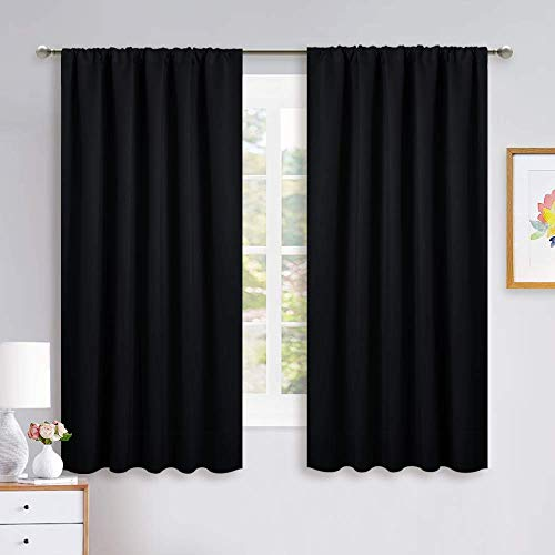 NICETOWN Black Out Window Curtains - Solid Home Decor Thermal Insulated Blackout Drapes/Draperies for Bedroom, Privacy Assured Window Treatment (2 Panels, 52 inches Wide by 63 inches Long)