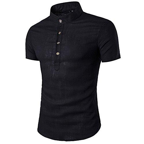 VEKDONE Men's Short Sleeve Golf Polo Linen Banded Collar Slim fit Henley Shirts(Black,Large)