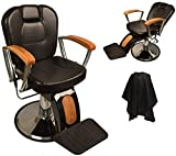 LCL Beauty Reclining Hydraulic Barber Chair With Natural Oak Wood Armrests & Wood Grain Accent