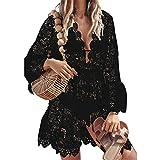 Yassiglia Bikini de manga larga para mujer, monocolor, cuello en V, vestido ancho de encaje floral con cuello en V, Negro , M