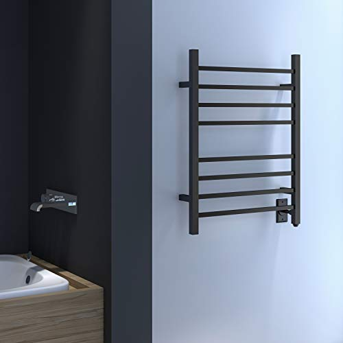 HEATGENE Towel Warmer, Heated Towel Rack with 8 Square Tube Bars Wall-Mounted Hardwired/Plug-in Towel Warmers for Bathroom, Hot Towel Drying Rack, Matte Black