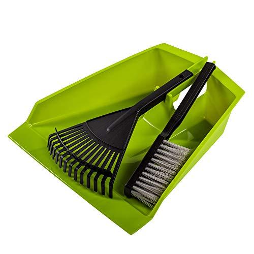 UPP Jumbo Kehrschaufel mit Besen und Rechen | Kehrset mit großer Kehrschaufel, Handfeger & Rechen | Set aus großem Kehrblech, Handkehrer & Rechen | Ideal für Garten und Haushalt | grün-schwarz