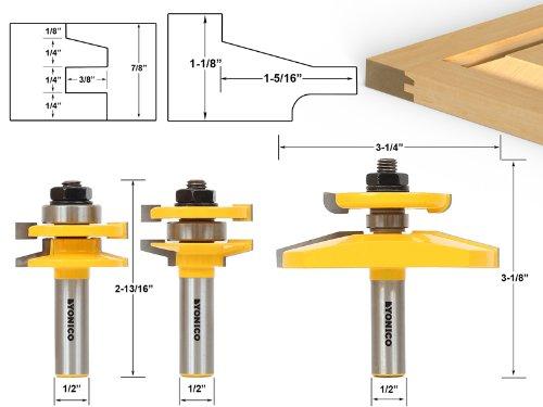 Yonico 12350 Shaker 3 Bit Raised Panel Cabinet Door Router Bit Set with Back-cutter Panel Raiser 1/2-Inch Shank