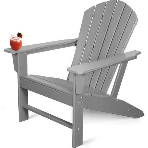 WenHaus Adirondack Chair, Fire Pit Chairs, Patio Outdoor Chairs, Plastic Resin Deck Chair, Painted Weather Resistant Lounge Lawn Chair (Grey)