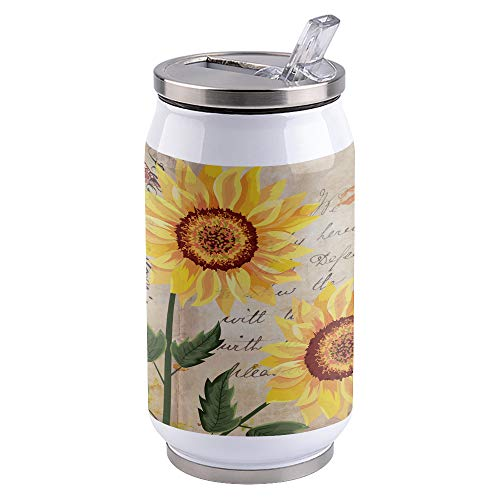 10oz Stainless Steel Liner Vacuum Tumbler Sunflower Plant Thermal Insulation Vacuum Cup with Straw & Slider Lid Vintage Portable Cola Can for Travel, Sports, Camping