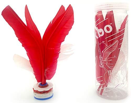 VIAHART Kikbo Kick Shuttlecock Cylinder (Jianzi, Chapteh, Da CAU, Jian Zi) | Great Change-up from Hacky Sack and Footbag (Red) | Includes One Complete Kikbo Shuttlecock and Four Replacement Feathers