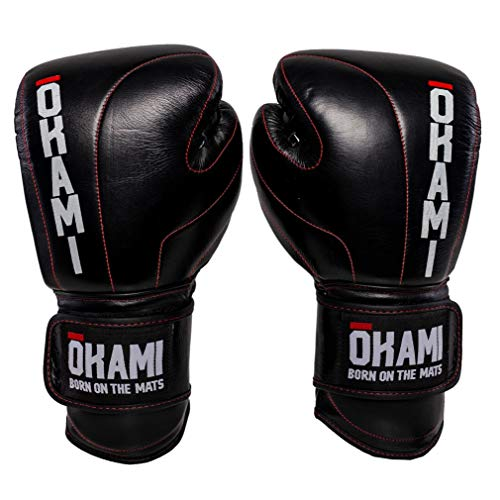 OKAMI Fightgear Boxhandschuhe Competitor - Boxhandschuhe Boxen Kickboxen Sparring Muay Thai Kampfsport - Premium Leder mit roten Kontrastnähten - 14 16 18 Unzen (18 Unzen)