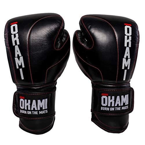 OKAMI Fightgear Boxhandschuhe Competitor - Boxhandschuhe Boxen Kickboxen Sparring Muay Thai Kampfsport - Premium Leder mit roten Kontrastnähten - 14 16 18 Unzen (16 Unzen)