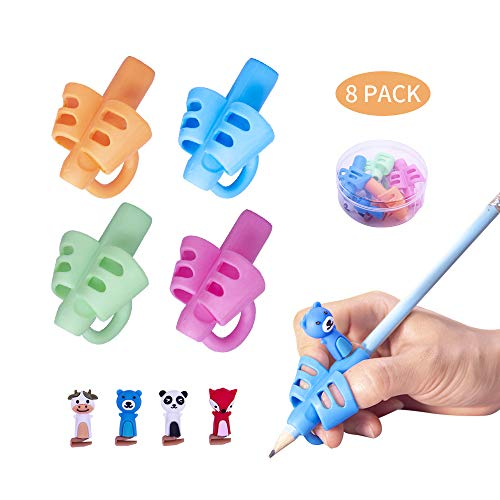 Pencil Grips, Kids Pencils Grip, Children Pencil Holder Writing Aid Grip Trainer, Ergonomic Training Pen Grip Posture Correction Tool for Kids, Pack of 8 Pencil Grips by Letdrowy.