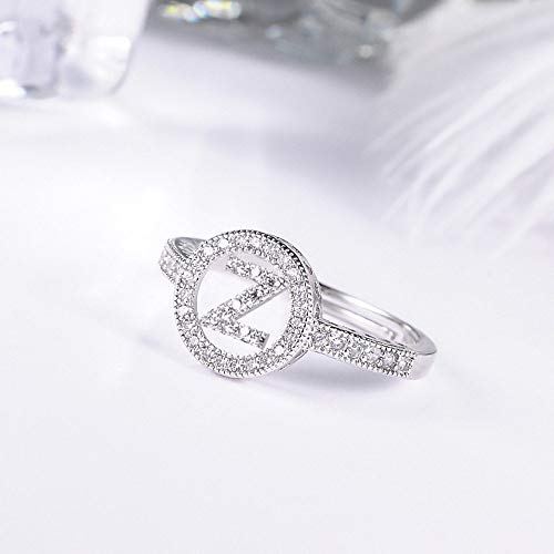 DGSDFGAH Ring For Women Z Cubic Zirconia Rhinestone Alphabet Letter Pattern Ring Silver Adjustable Female Ring Surname Abbreviation