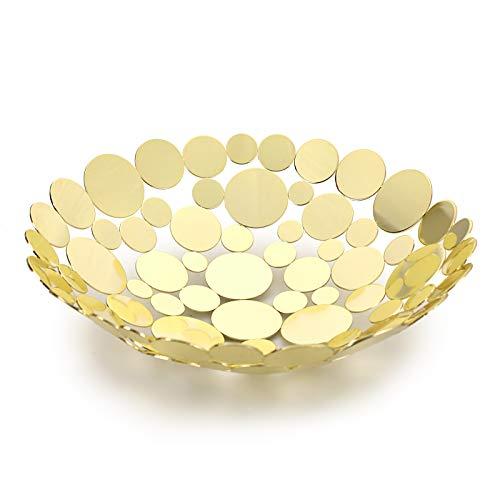 SUMTREE Obstschale aus Eisen,Obst aufbewahrung,für Gemüse Brot und Obst in der Küche,30x30x9(Rund,Golden)