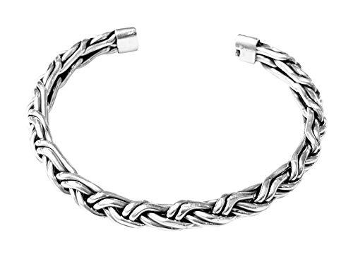 TreasureBay Herren 925 Sterling Silber Armreif Geflochtene Details, Silber Manschette Armreif für Männer