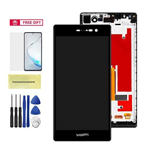 Reemplazar la pantalla P7 Pantalla Con ajuste del marco de la pantalla LCD Huawei Ascend P7 L00 L05 L10 montaje LCD táctil digitalizador reparación de piezas de reemplazo ( Color : Black With Frame )
