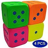 Macro Giant 6 Inch Soft Foam Jumbo Big Playing Dice, Set of 4,Neon Color, Math Teaching, Teaching Aids, Board Games, Kid Toy