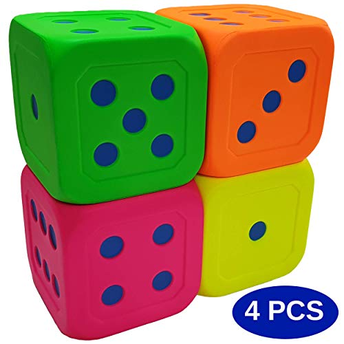 Macro Giant 6 Inch Soft Foam Jumbo Big Playing Dice Set of 4Neon Color Math Teaching Teaching Aids Board Games Kid Toy