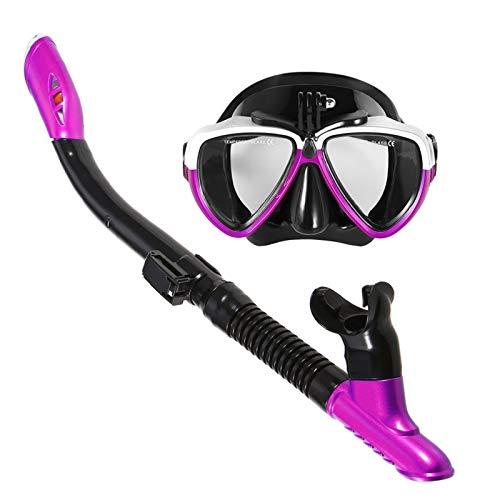 MHSHKS Máscaras De Buceo Máscara De Esnórquel Gafas De Natación para Snorkel Conjunto De Tubo De Snorkel Seco Antivaho Gafas De Buceo Profesionales para Hombres Mujeres (Color : Purple)