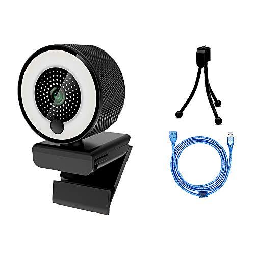 Fesjoy anneau lumineux, Cámara web HD 1080P con enfoque automático de luz anular Micrófono incorporado para transmisión en vivo/video Cable de extensión de 1.5M + Trípode estilo esmerilado