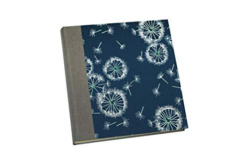 Fotoalbum klassisch mit Pergamyn & hellem Fotokarton Stoff Pusteblumen blau