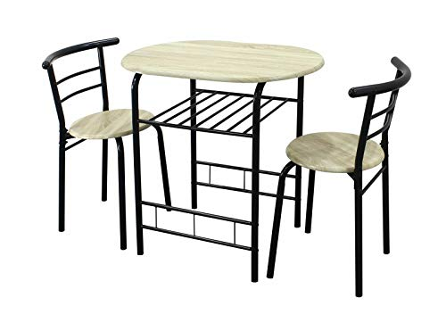 3 Piece Light Oak Dining Table with 2 Chairs and Black Metal Frame