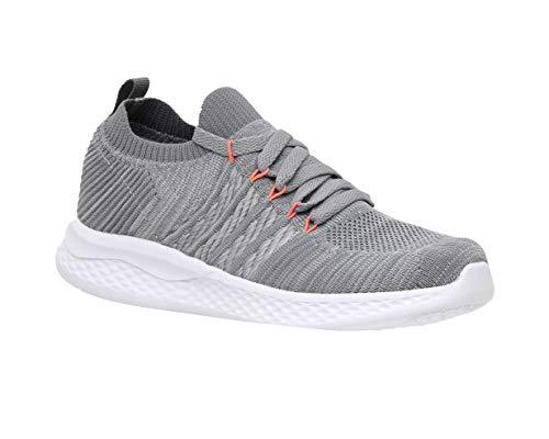 CUSHIONAIRE Women's Drew Stretch Knit lace up Sneaker +Memory Foam & LiteSole Technology, Grey 8.5
