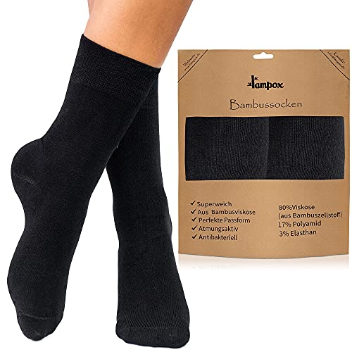 lampox Bambus Socken (6 Paar) Atmungsaktiv Socken Business Sport Laufen Reduziert Schweiß (43-46, Schwarz)…