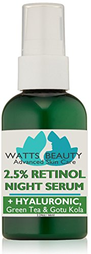 Watts Beauty 2.5% Retinol Serum Enhanced with 50% Hyaluronic Acid - Anti Aging Retinol for Fine Lines, Wrinkles, Blemishes, Large Pores & More - No Parabens, No Animal Testing or Ingredients (2.24oz)